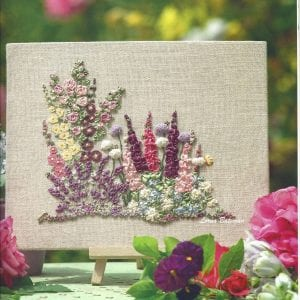 Embroidered Country gardens silk ribbon kit