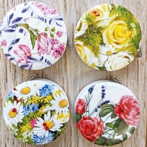 Floral print retractable tape measures