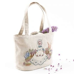 Embroidered Country Gardens Vintage Gardner Pattern and Print for Tote bag